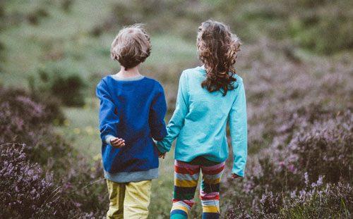 Children walking in the Highlands